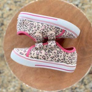 WN   Tan Pink Leopard Velcro Sneakers